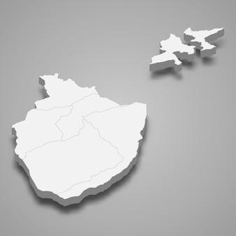 Isometrische 3d-karte von appenzell innerrhoden ist ein kanton der schweiz