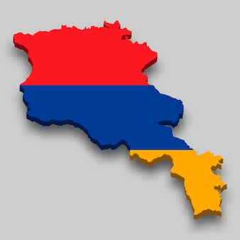 Isometrische 3d-karte von armenien mit nationalflagge.