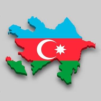 Isometrische 3d-karte von aserbaidschan mit nationalflagge.