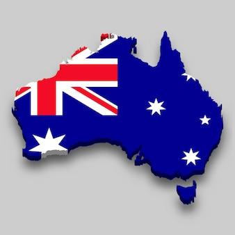 Isometrische 3d-karte von australien mit nationalflagge.