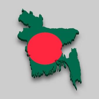 Isometrische 3d-karte von bangladesch mit nationalflagge.
