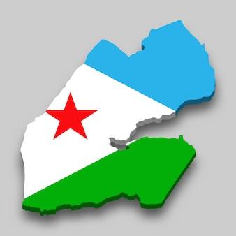 Isometrische 3d-karte von dschibuti mit nationalflagge.