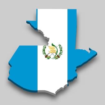 Isometrische 3d-karte von guatemala mit nationalflagge.
