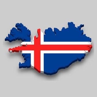 Isometrische 3d-karte von island mit nationalflagge.