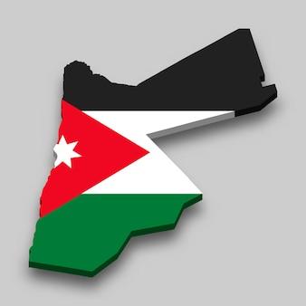 Isometrische 3d-karte von jordanien mit nationalflagge.
