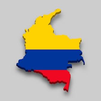Isometrische 3d-karte von kolumbien mit nationalflagge.