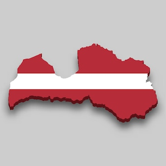 Isometrische 3d-karte von lettland mit nationalflagge.