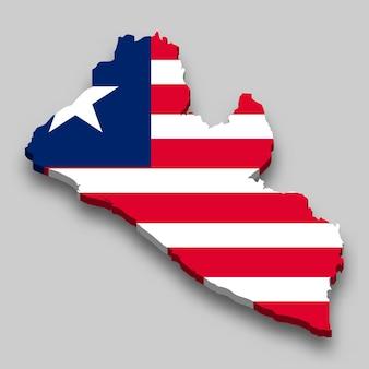 Isometrische 3d-karte von liberia mit nationalflagge.