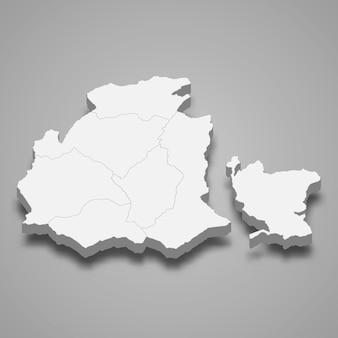 Isometrische 3d-karte von obwalden ist ein kanton der schweiz