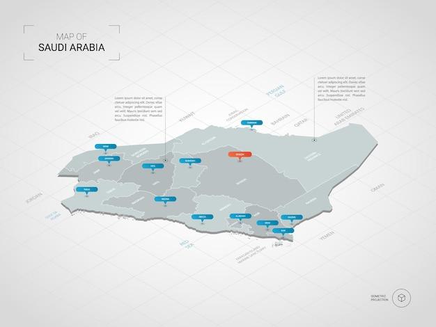 Isometrische 3d-karte von saudi-arabien.