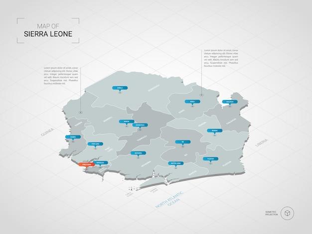 Isometrische 3d-karte von sierra leone.