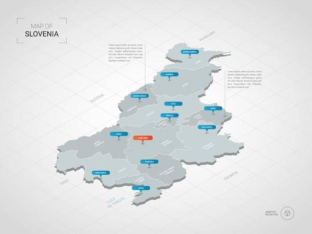 Isometrische 3d-karte von slowenien.