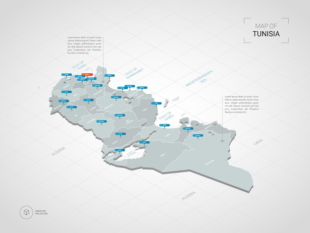 Isometrische 3d-karte von tunesien.
