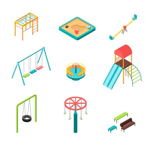 Isometrische 3d kinderspielplatz-karikaturelemente im freien lokalisiert