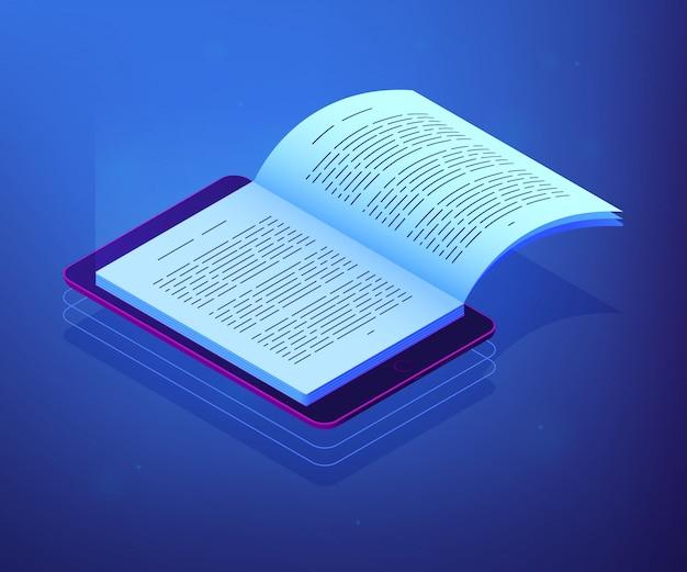 Isometrische 3d-konzeptillustration des digitalen lesens.