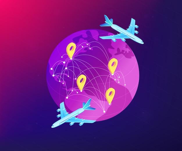 Isometrische 3d-konzeptillustration des globalen transportsystems.
