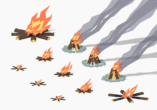 Isometrische 3d-lagerfeuer