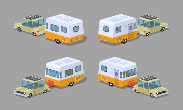 Isometrische 3d-limousine mit wohnmobil