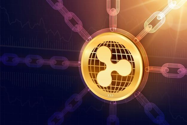Isometrische 3d-ripple-münze mit drahtgitterkette. blockchain-konzept.