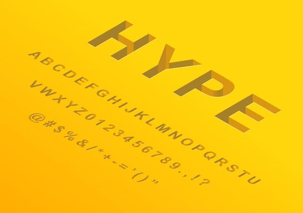 Isometrische 3d-schrift alphabet buchstaben zahlen und symbole