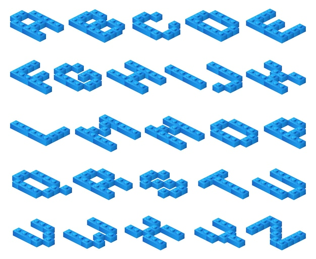 Isometrische 3d-schriftart aus blauen plastikwürfeln