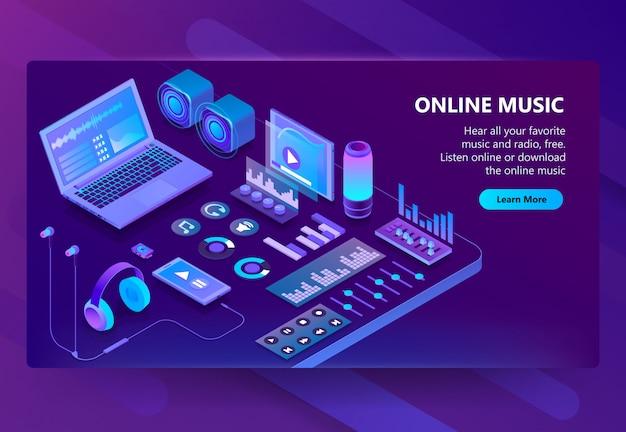 Isometrische 3d-seite der musik hören