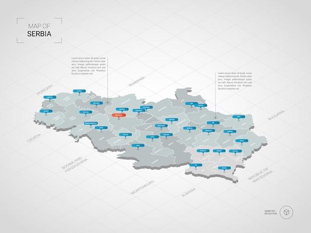 Isometrische 3d serbien karte.
