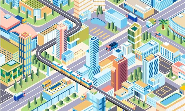 Isometrische 3d-stadtillustrations-metropolstadt mit modernen gebäudestraßen und -transport