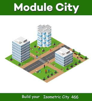 Isometrische 3d-stadtlandschaft von häusern, gärten und straßen in einer dreidimensionalen draufsicht