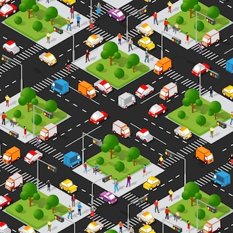 Isometrische 3d-stadtstraße der kreuzungsstraße mit autos, bäumen, städtischer infrastruktur