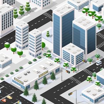 Isometrische 3d-straße im stadtzentrum gelegener architekturbezirk teil der stadt mit straßengebäuden im freien.