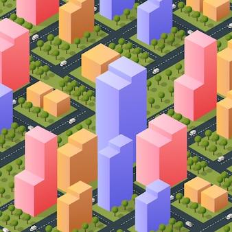 Isometrische 3d-straße im stadtzentrum gelegener architekturbezirk teil der stadt