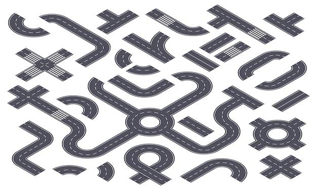 Isometrische 3d-straßen asphalt-autobahn mit markierungen ringstraße kreuzung gebogener pfad infografik karte info