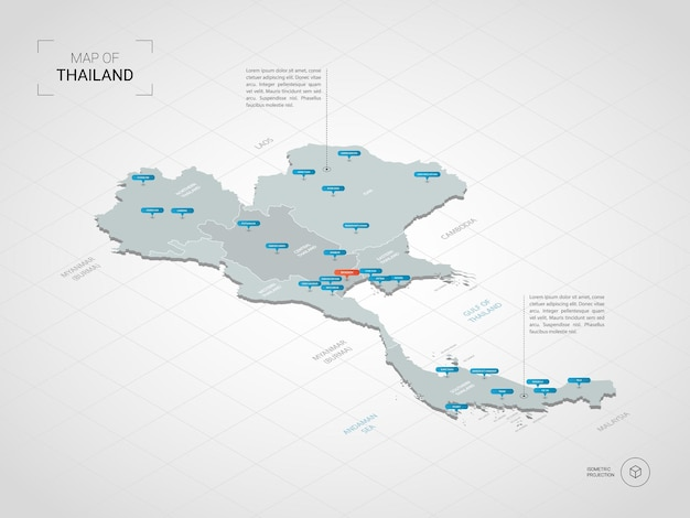 Isometrische 3d thailand karte.