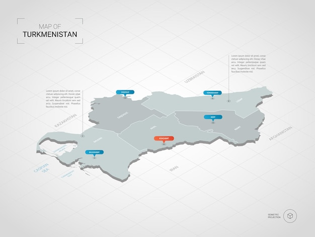 Isometrische 3d-turkmenistan-karte.