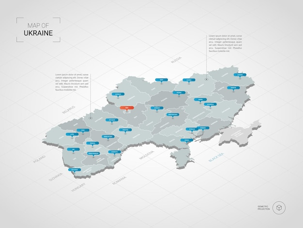 Isometrische 3d-ukraine-karte.