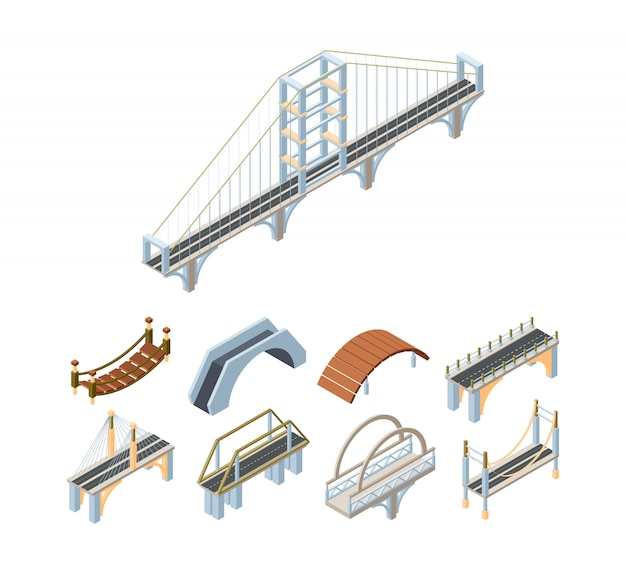 Isometrische 3d-vektorillustrationen der holz- und betonbrücken gesetzt