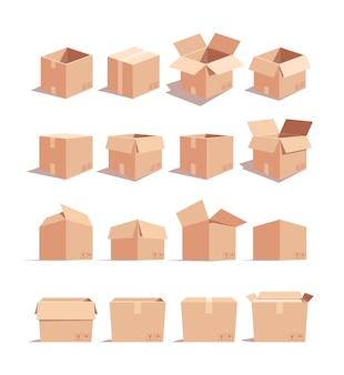 Isometrische 3d-vektorillustrationen des leeren kartonkastensatzes. lieferung karton pakete isoliert cliparts pack.