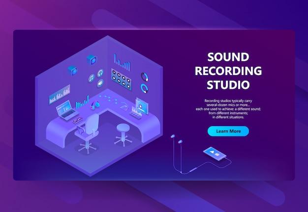 Isometrische 3d-website für tonaufnahme studio