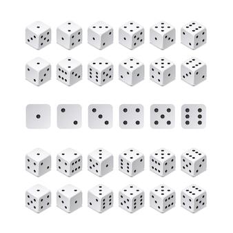 Isometrische 3d würfelkombination. vektorspielwürfel lokalisiert. sammlung für glücksspiel-app und casino-konzept. würfelspiel, spielender würfel für kasinoillustration