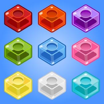 Isometrische 9 farben der netten art der süßigkeit.