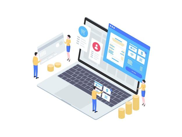 Isometrische abbildung der desktop-zahlung. geeignet für mobile apps, websites, banner, diagramme, infografiken und andere grafische elemente.