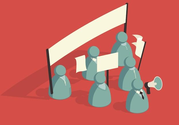 Isometrische abstrakte menge von demonstranten mit bannern Premium Vektoren