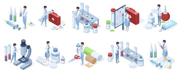 Isometrische ärzte arbeiten in der pharmaindustrie, laborforschung. gesundheitswesen, medizinischer dienst, apothekenforschungszeichen-vektorillustrationssatz. klinikmedizinisches konzept