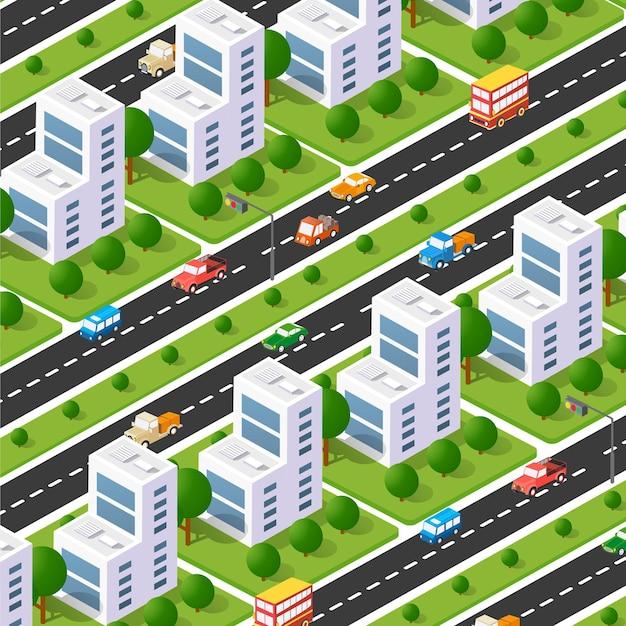Isometrische allee des stadtboulevards. transportauto, stadt- und asphalt, verkehr. überqueren von straßen flach 3d-dimension der öffentlichen stadt