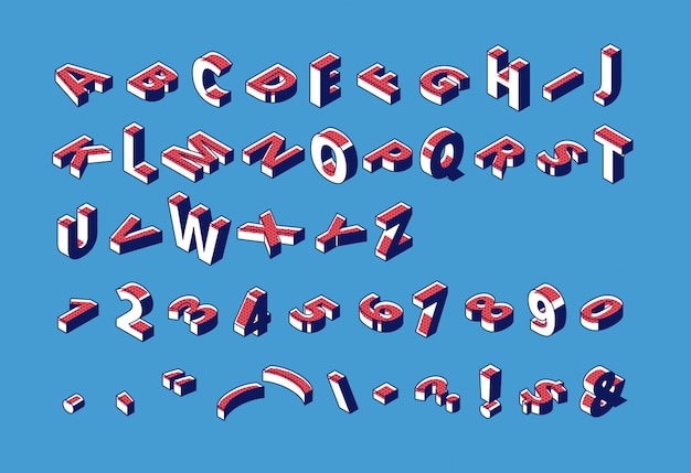 Isometrische alphabet, abc, zahlen und satzzeichen großbuchstaben, typografie schriftart