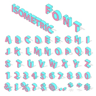 Isometrische alphabet schriftart