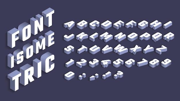 Isometrische alphabet weiße buchstaben und zahlen mit schatten
