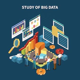 Isometrische analytikzusammensetzung der großen daten mit studie von großen daten und statistiken lokalisierte elementillustration