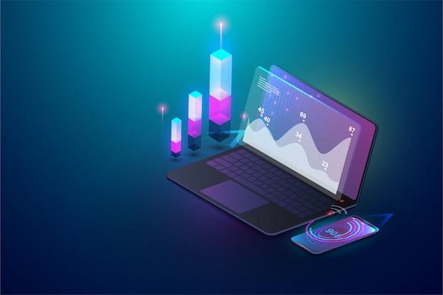 Isometrische analytische und infographic finanzelemente des geschäfts auf schirmlaptopkonzept. isometrischer satz infographics mit datenfinanzdiagrammen oder diagrammen und informationsdatenstatistik